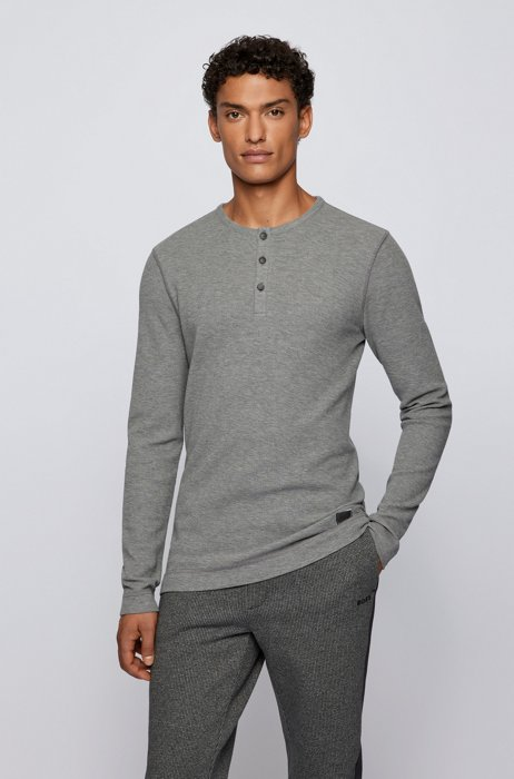 Henley-neck slim-fit T-shirt in waffle cotton, Light Grey