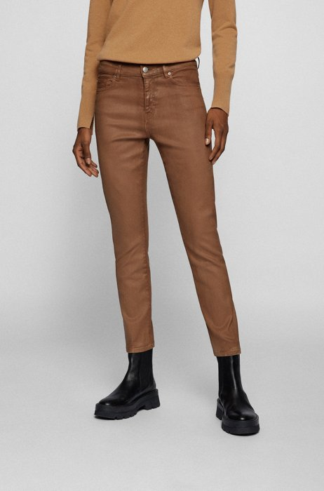 Slim-fit jeans in coated power-stretch denim, Light Brown