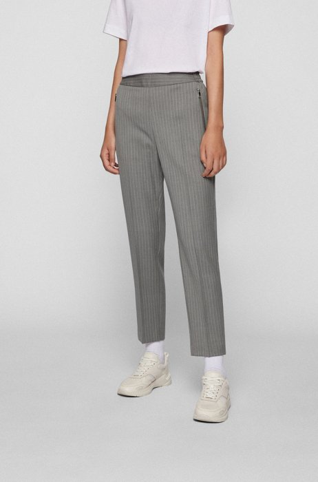 Regular-fit trousers in pinstripe stretch wool, Patterned