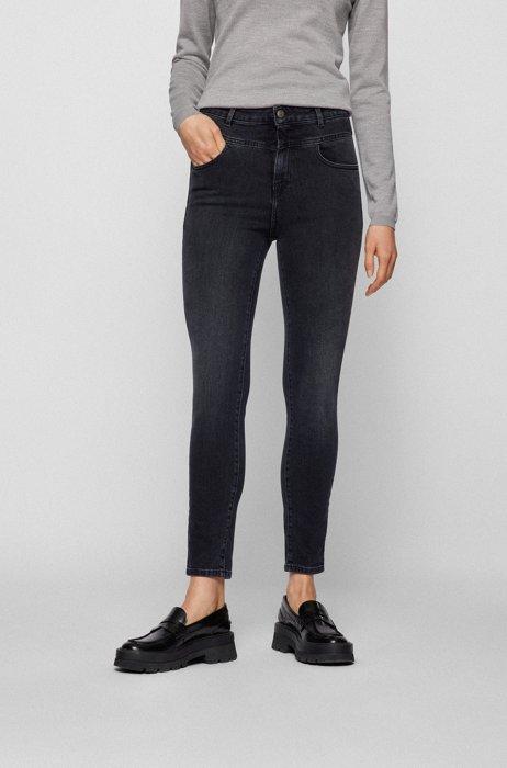 Skinny-fit jeans in dark-gray super-stretch denim, Black