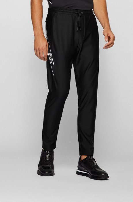 Slim-fit tracksuit bottoms with logo tape, Black