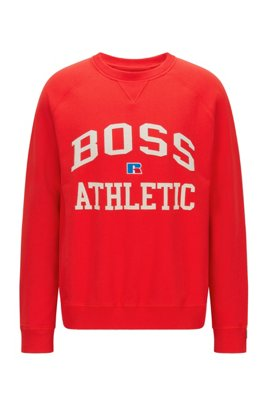 Unisex relaxed-fit sweatshirt in organic cotton with personalization, Red