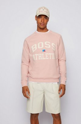 Unisex relaxed-fit sweatshirt in organic cotton with personalization, light pink