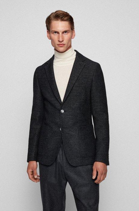 Slim-fit jacket in patterned wool-blend jersey, Light Grey