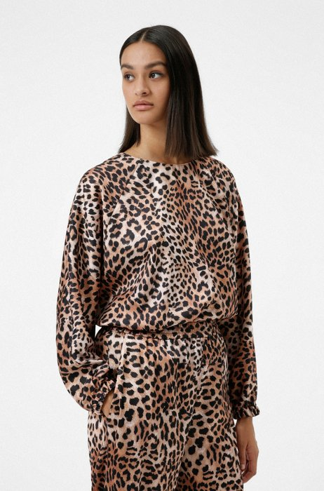 Relaxed-fit top in leopard-print satin, Patterned