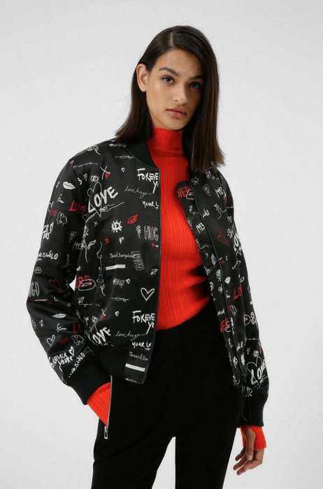 Relaxed-fit jacket in recycled fabric with scribbled stitching, Patterned
