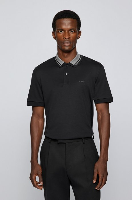 Slim-fit polo shirt in organic cotton, Black