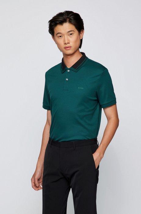 Slim-fit polo shirt in organic cotton, Dark Green