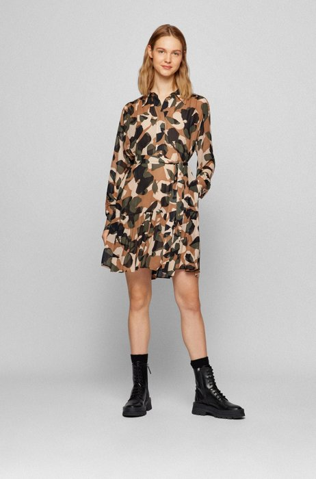 Camouflage-print dress with detachable slip, Patterned