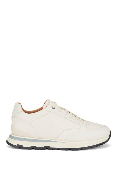 Low-top trainers in burnished Italian leather, White