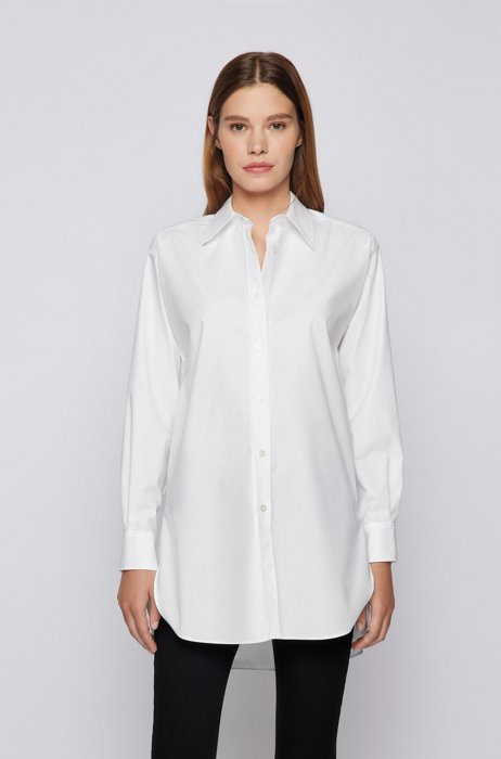 Long-length relaxed-fit blouse in organic cotton, White