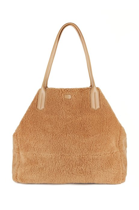 Teddy shopper bag with leather trims, Light Brown