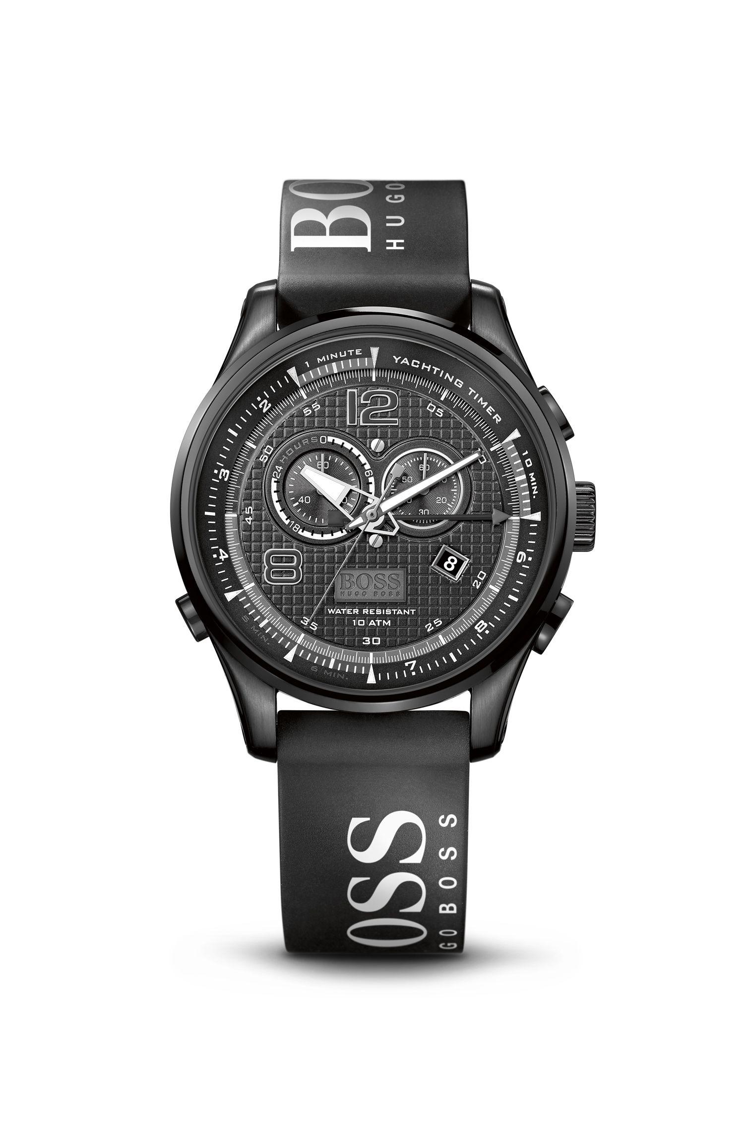 '1512832' | Chronograph Black Silicon Logo Strap Watch