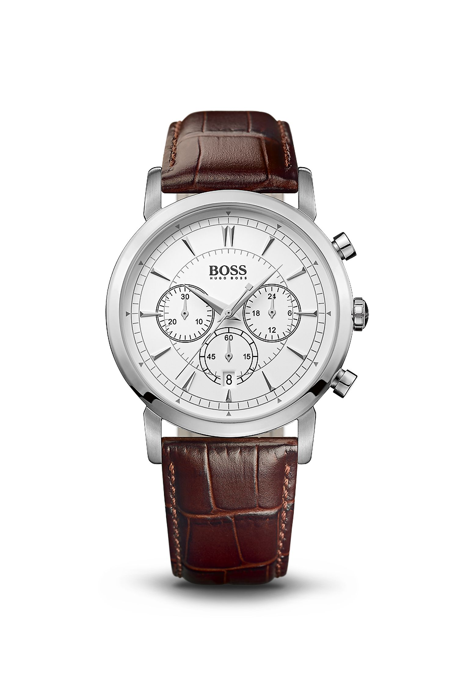 '1512871' | Chronograph Brown Croc-Embossed Leather Strap Slim Watch