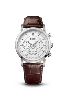 '1512871' | Chronograph Brown Croc-Embossed Leather Strap Slim Watch , Assorted-Pre-Pack