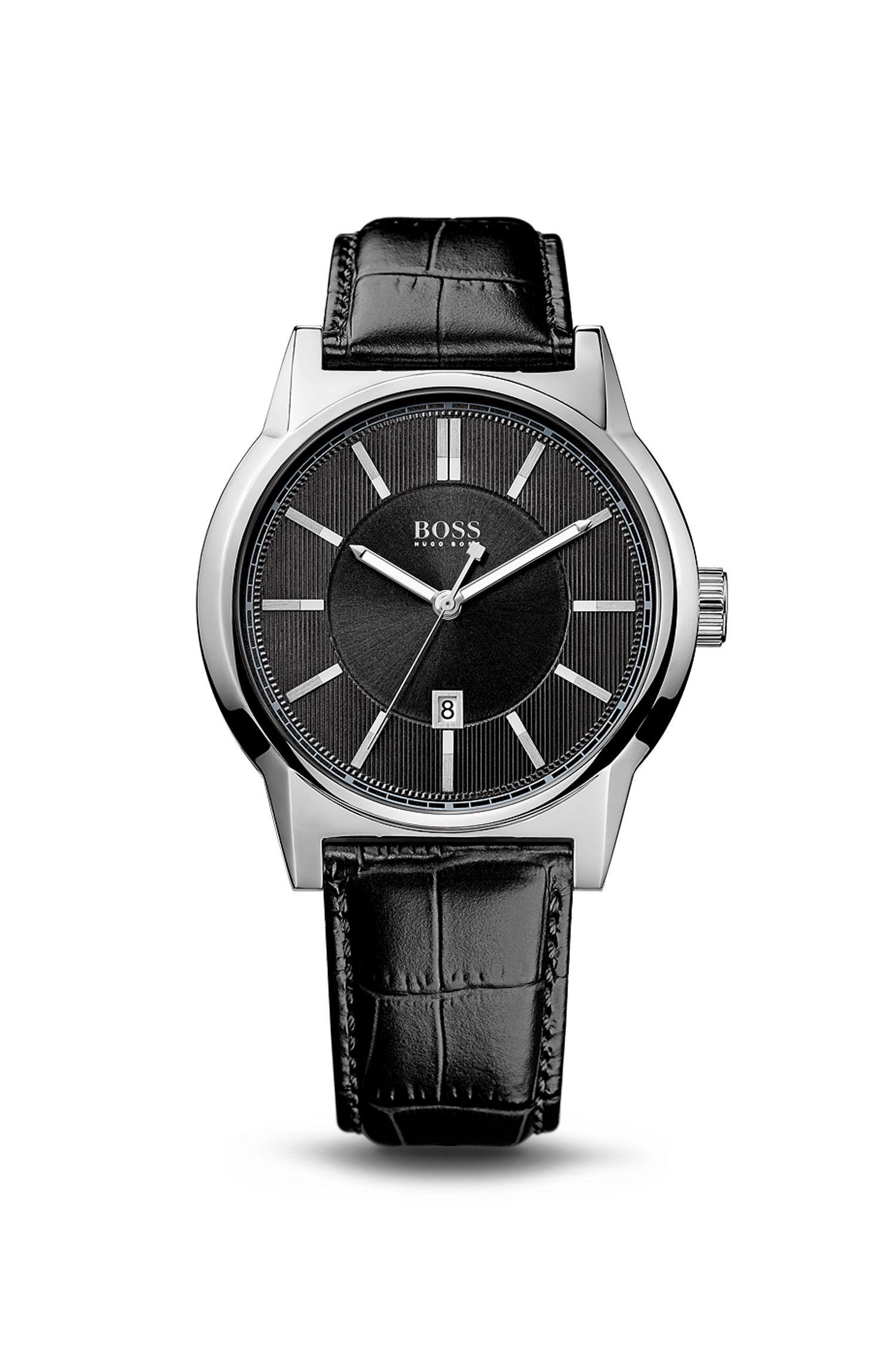 '1512911'   Black Crocodile Embossed Leather Strap Quartz Watch