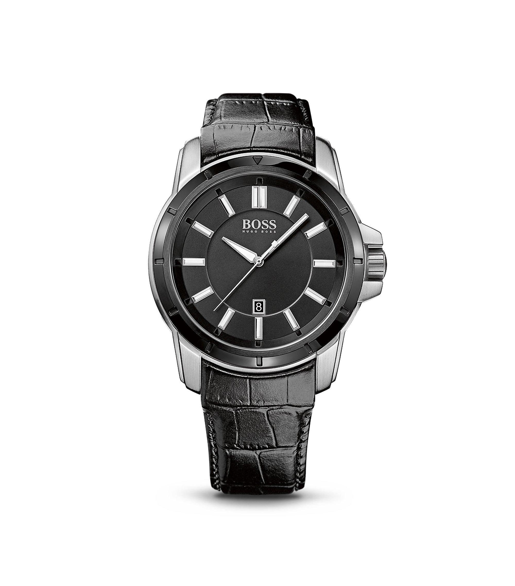 '1512922' | Black Crocodile Leather Strap Quartz Watch, Assorted-Pre-Pack