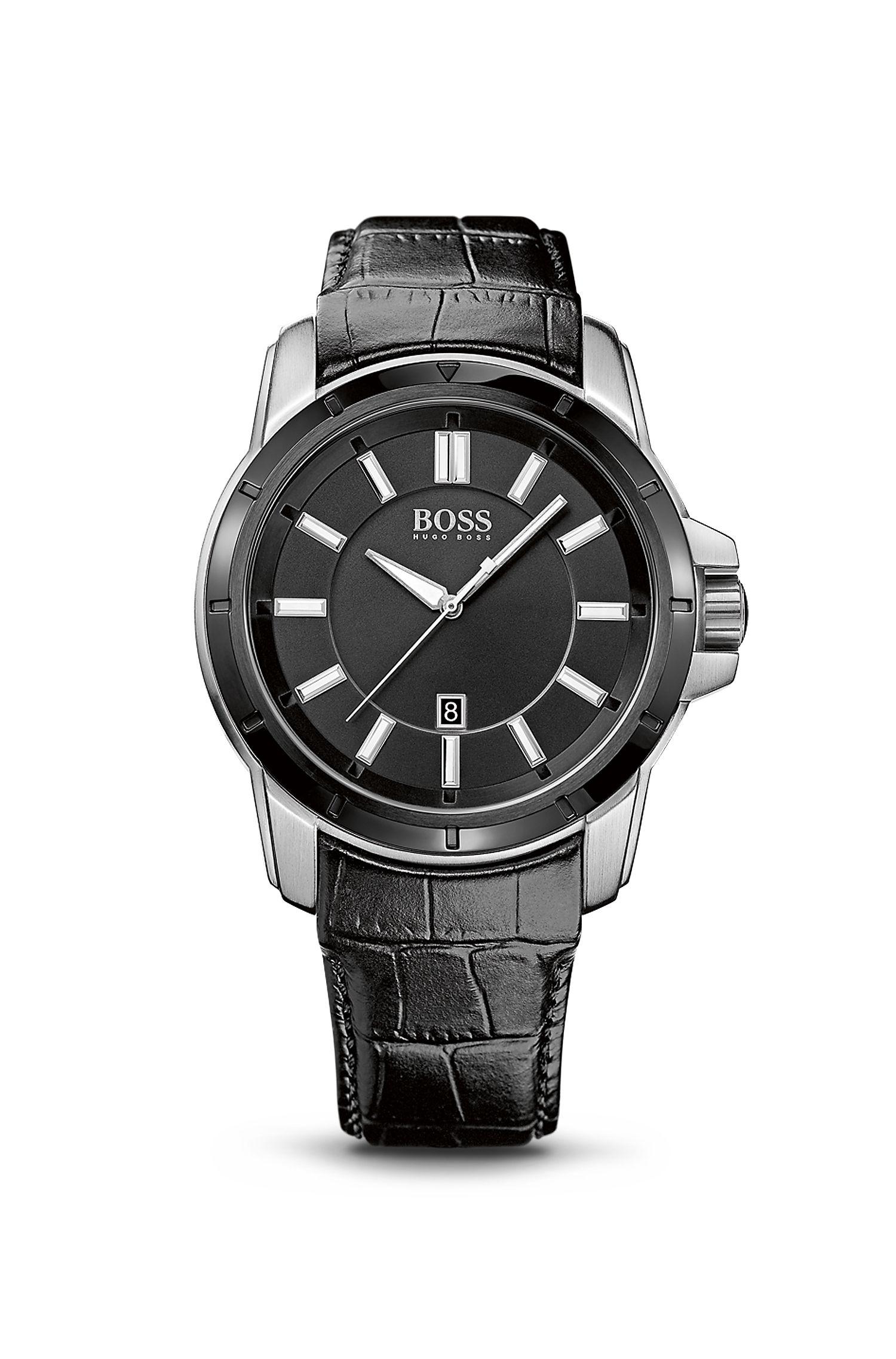 '1512922' | Black Crocodile Leather Strap Quartz Watch