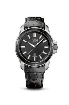 '1512922'   Black Crocodile Leather Strap Quartz Watch, Assorted-Pre-Pack