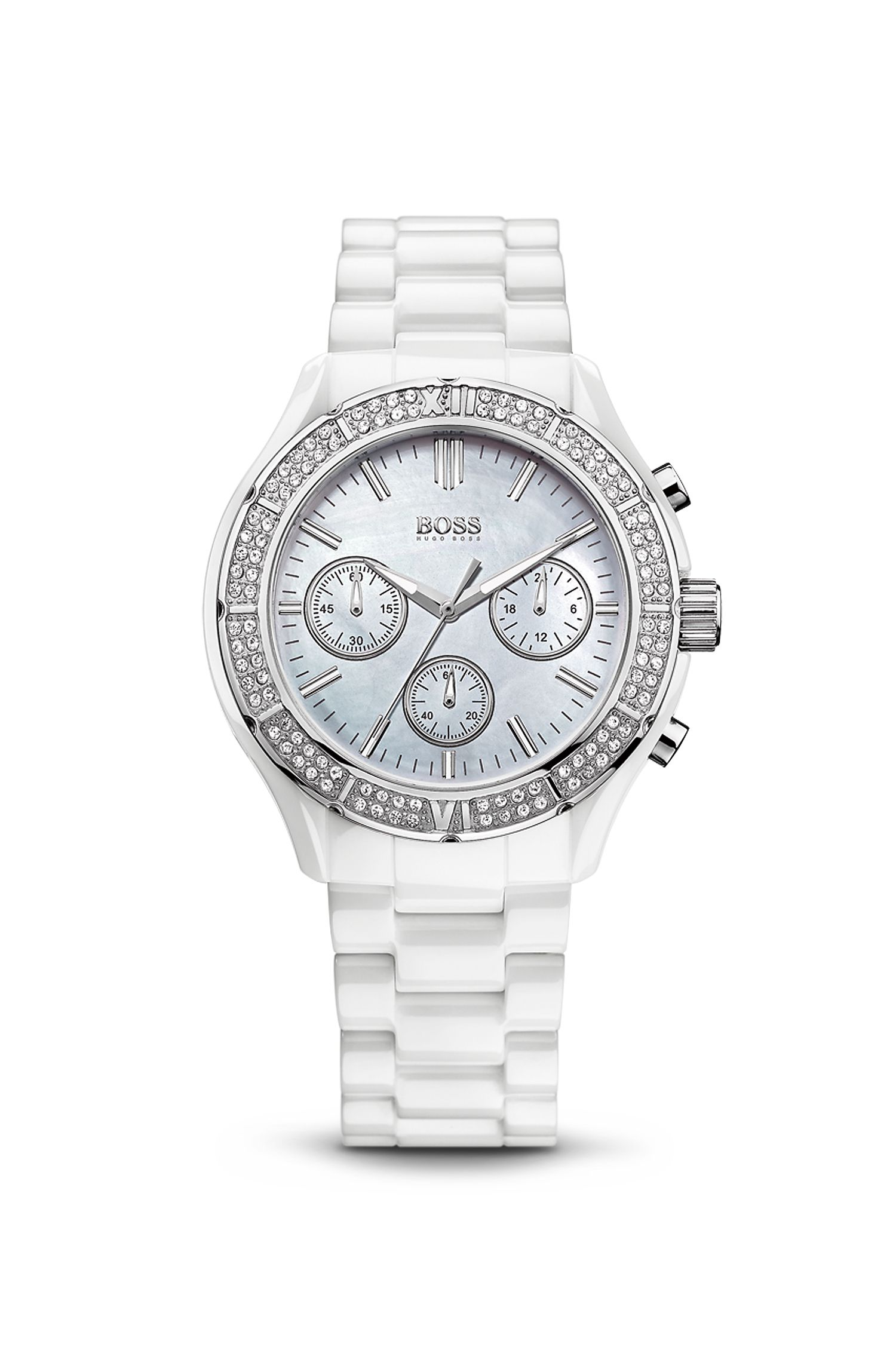 '1502355' | Chronograph White Embellished Ceramic and Stainless Steel Watch