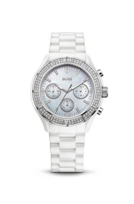 '1502355' | Chronograph White Embellished Ceramic and Stainless Steel Watch, Assorted-Pre-Pack