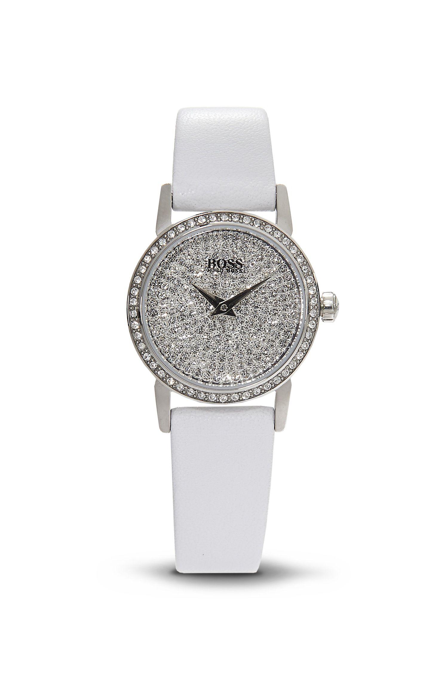'1502358' | White Leather Strap Swarovski Crystal-Embellished Watch