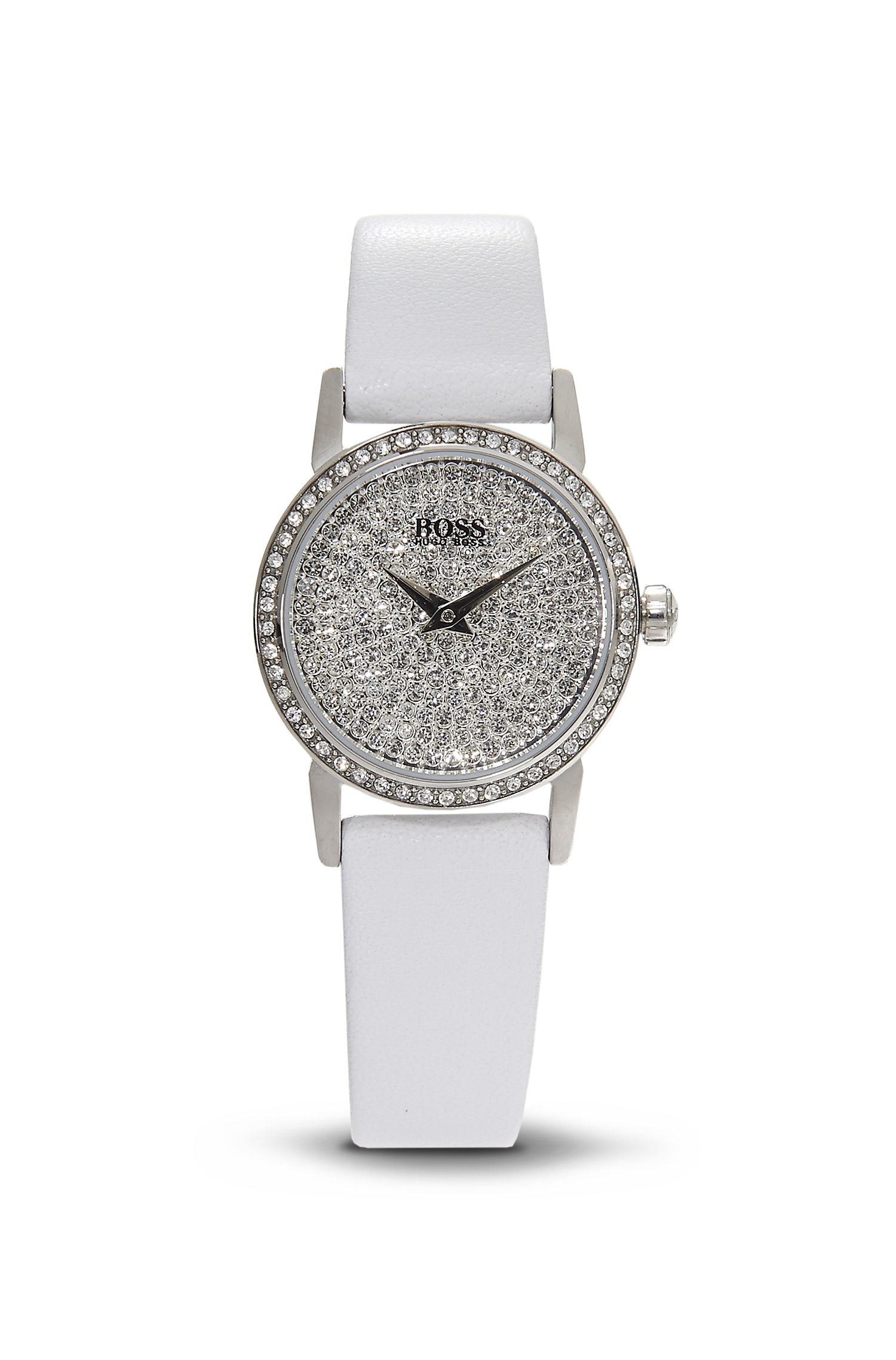 '1502358' | White Leather Strap Swarovski Crystal-Embellished Watch