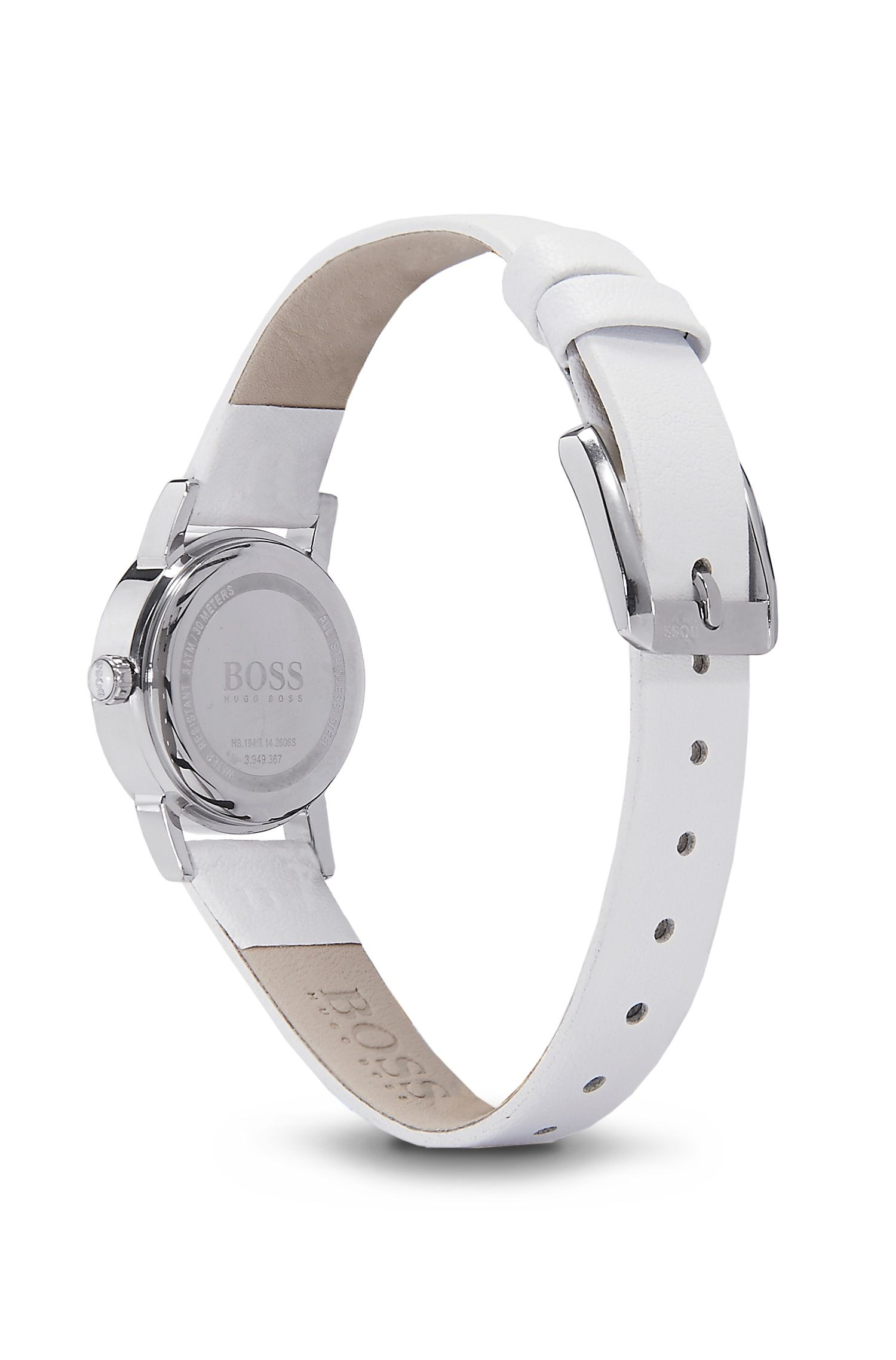 '1502358' | White Leather Strap Swarovski Crystal-Embellished Watch, Assorted-Pre-Pack