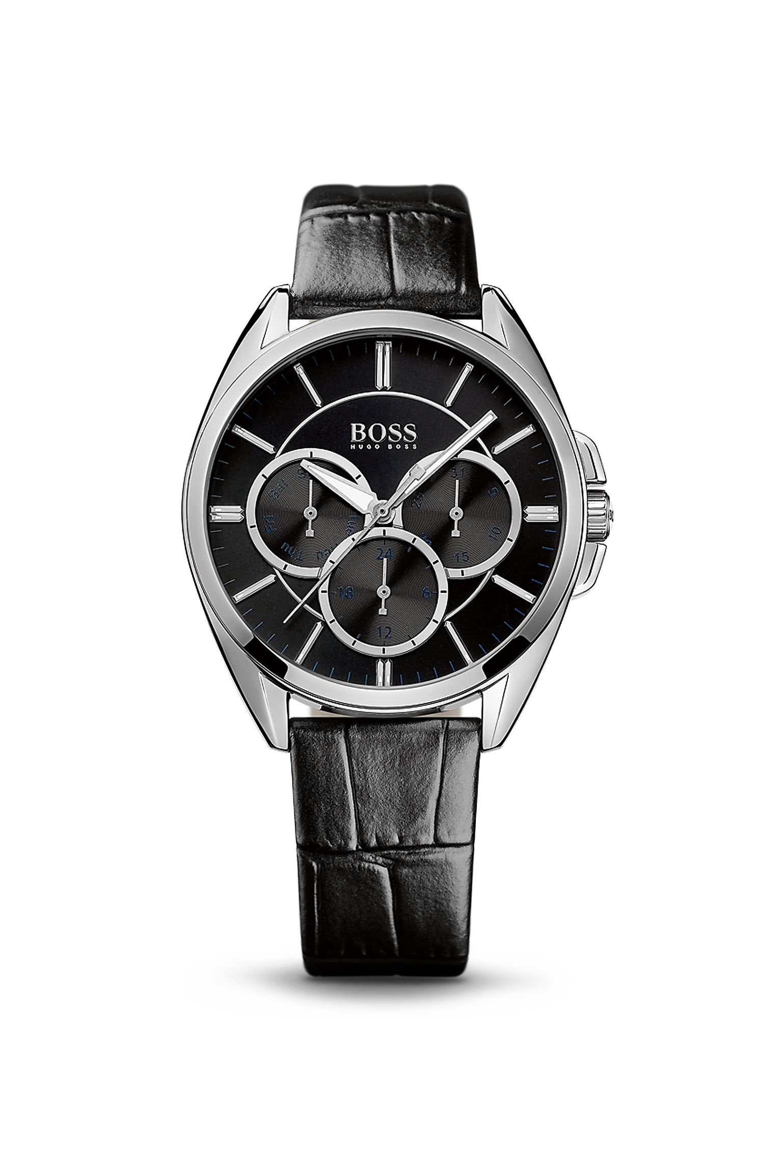 '1502359' | Chronograph Black Croc-Embossed Leather Watch