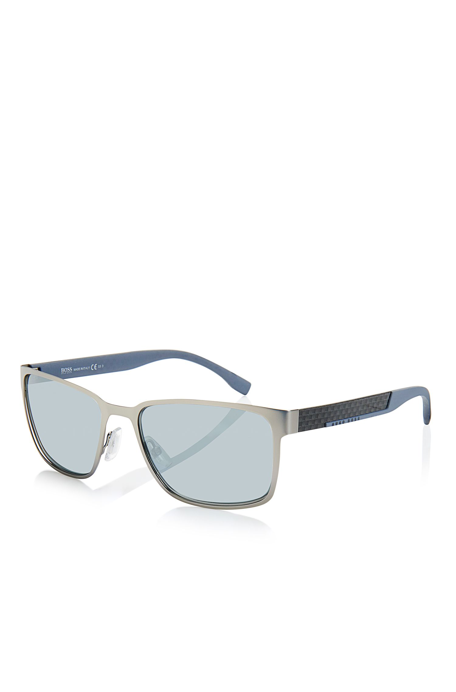 Steel and Carbon Black Mirror Lens Sunglasses | BOSS 0638