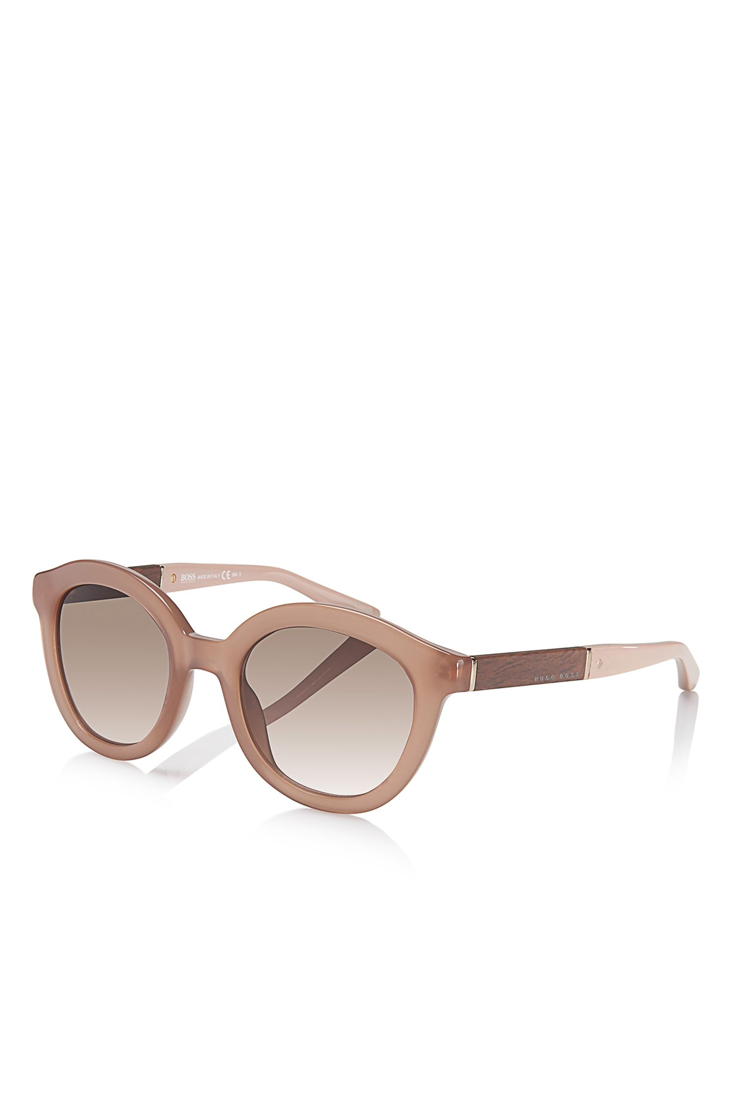'BOSS 0662S' | Rounded Vintage Wood Detailed Sunglasses