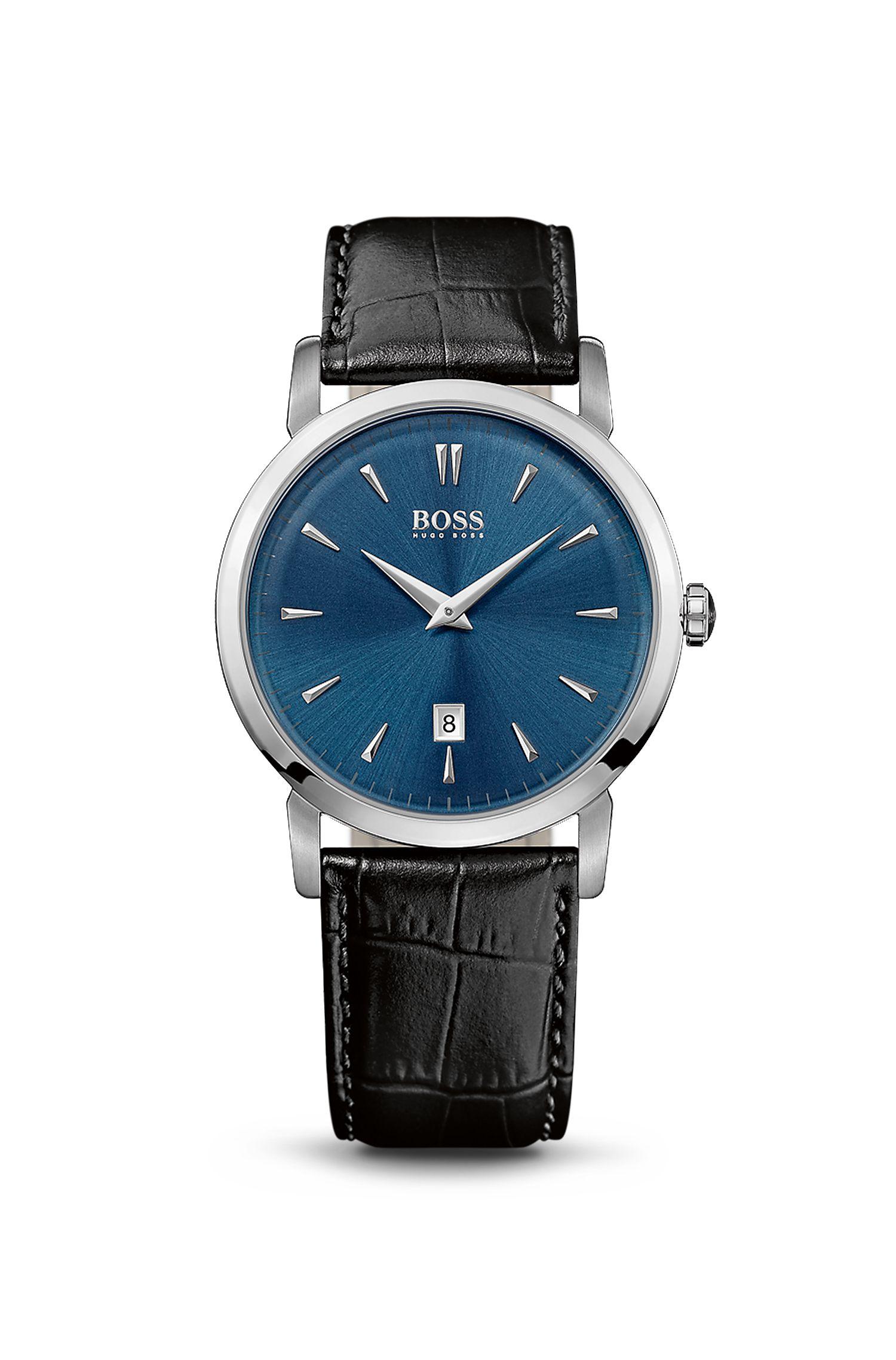 '1513091'   Leather Strap 2-Hand Quartz Slim Ultra Round Watch