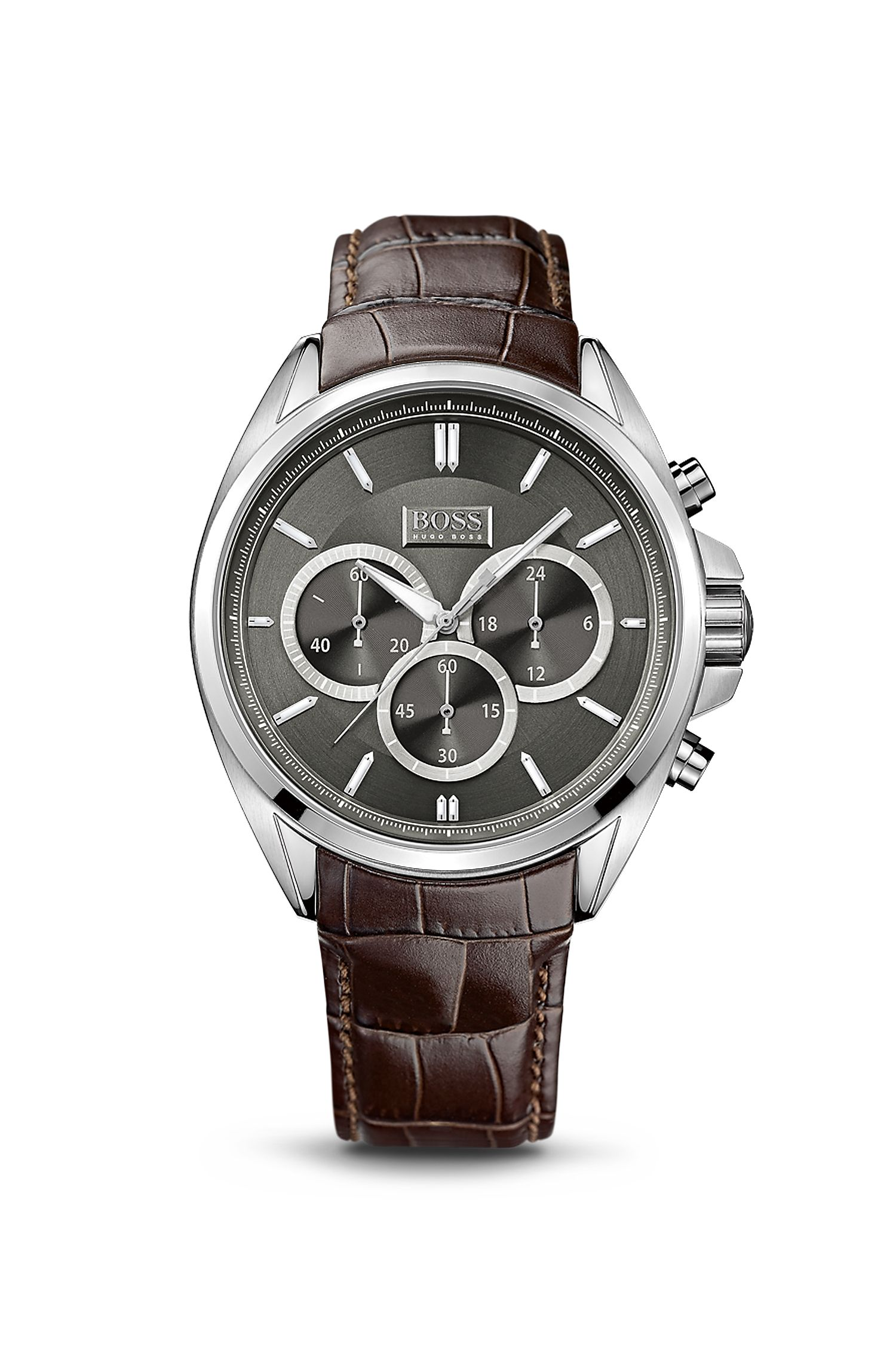 '1513035' | Chronograph Croc-Embossed Leather Strap Driver Watch