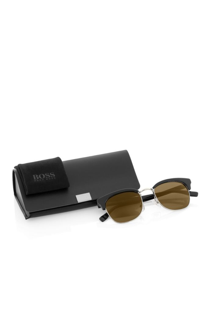'BOSS 0667S' | Brown Lens Clubmaster Sunglasses