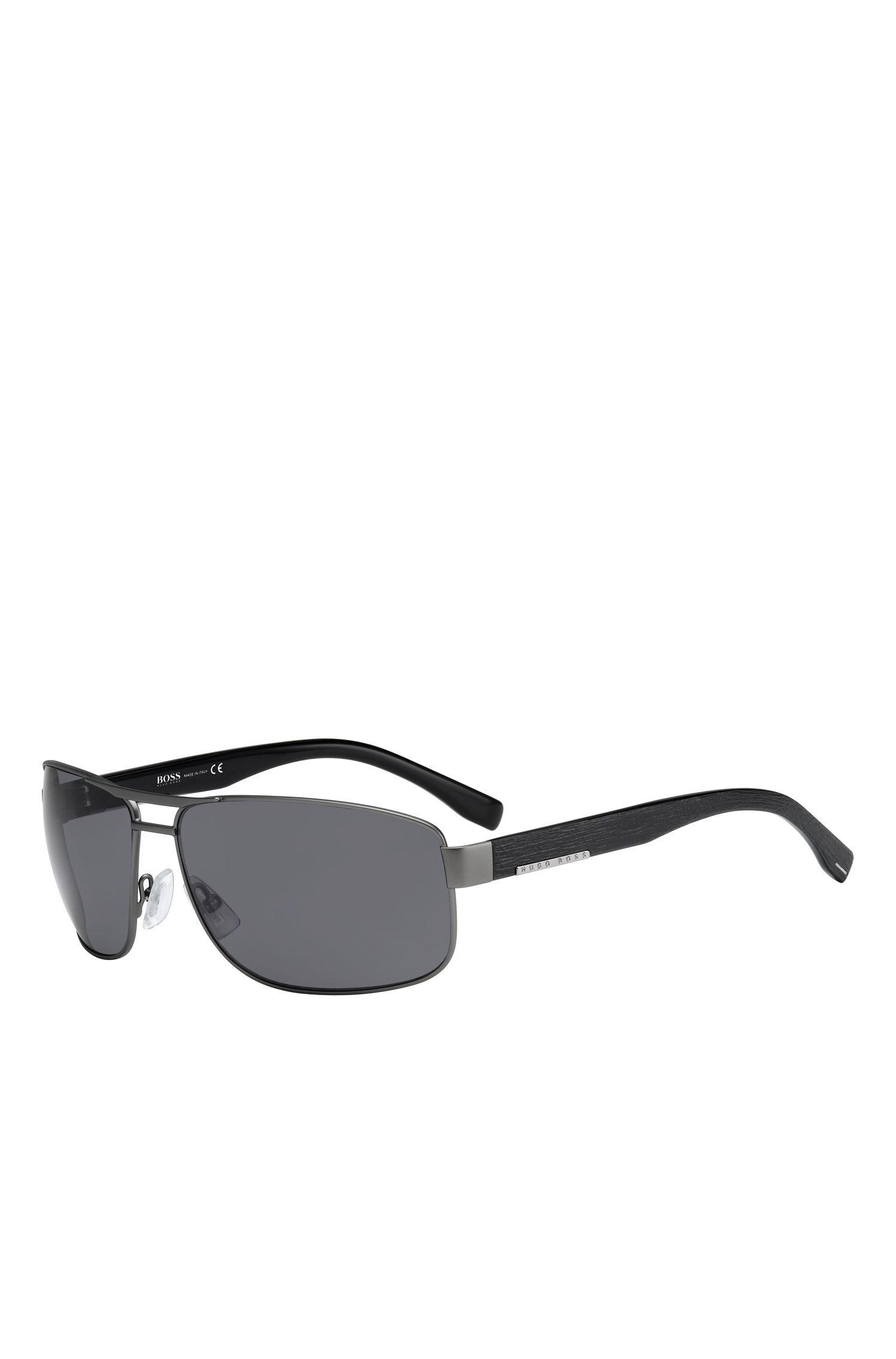 'BOSS 0668S' | Black Lens Wood-Detail Navigator Sunglasses