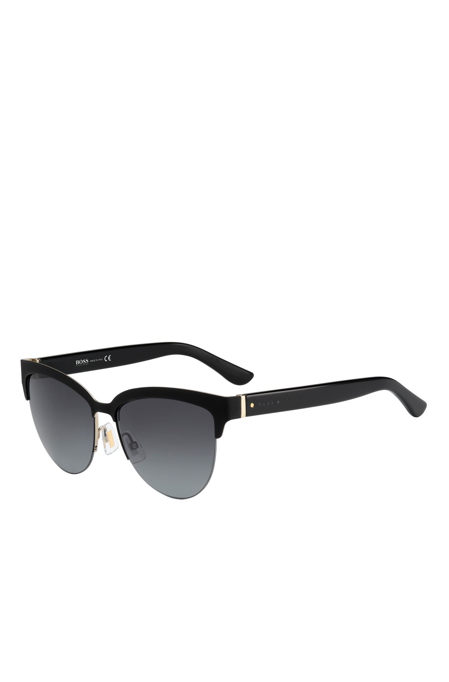 Black Lenses Half-Frame Cateye Sunglasses | BOSS 678S