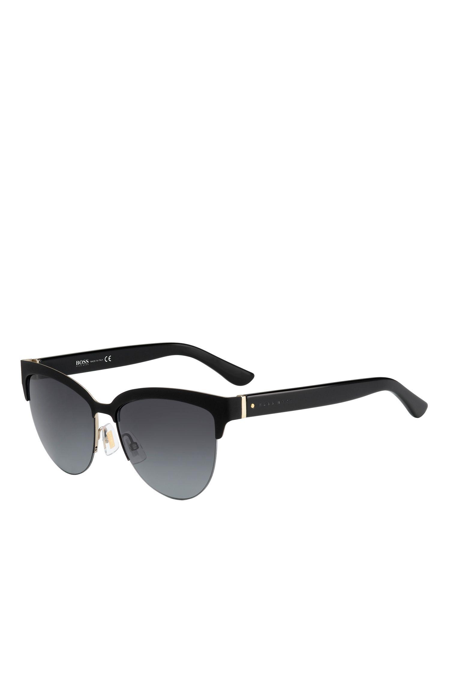 Black Lenses Half-Frame Cateye Sunglasses   BOSS 678S