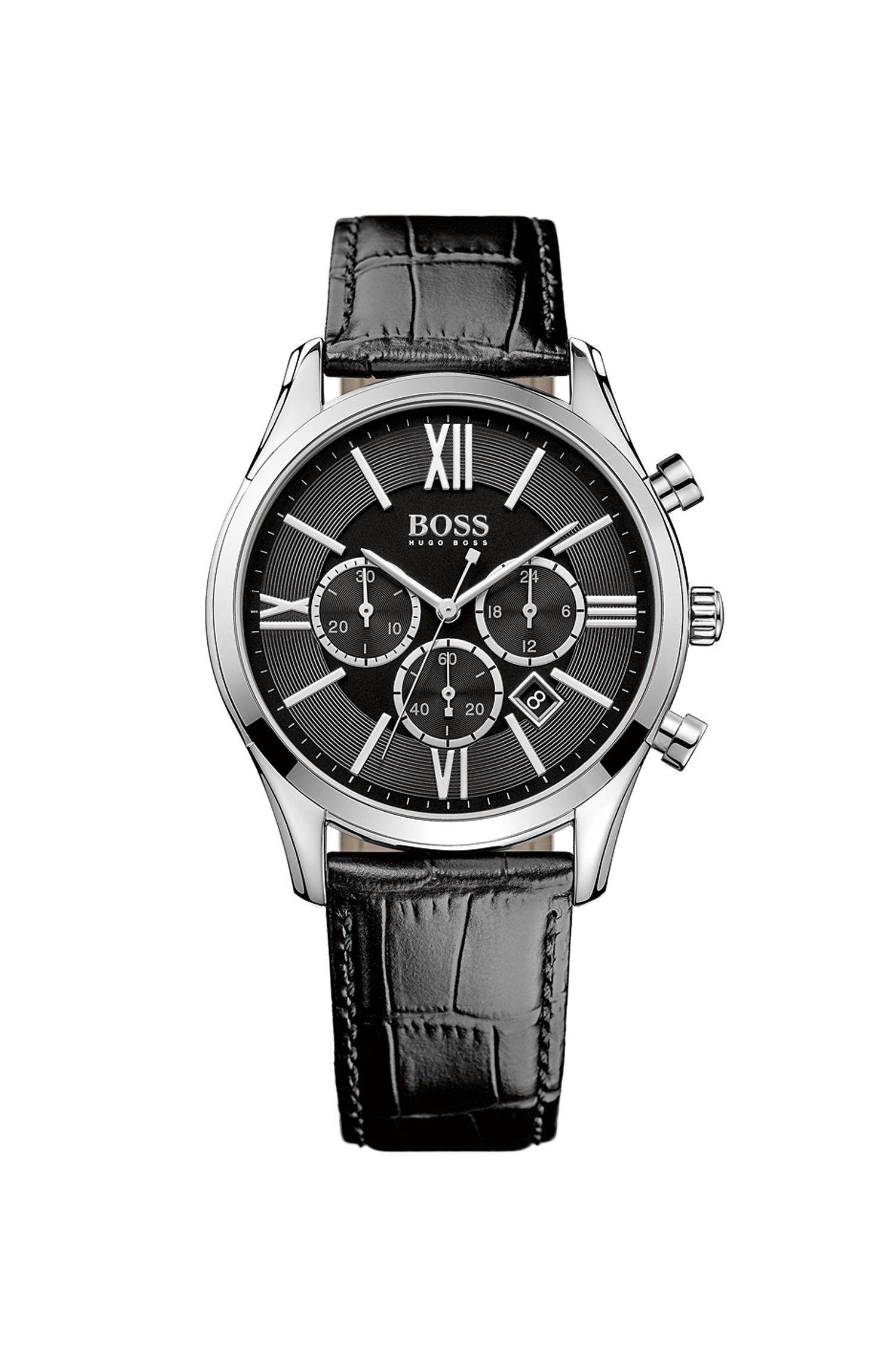 'Hbambsr'   Chronograph Stainless Steel Leather Strap Quartz Watch