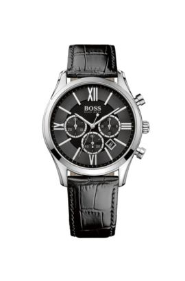 'Hbambsr' | Chronograph Stainless Steel Leather Strap Quartz Watch, Assorted-Pre-Pack