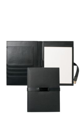 'Folder With USB Binder' | Leather Folder With Pad, USB Stick, Black