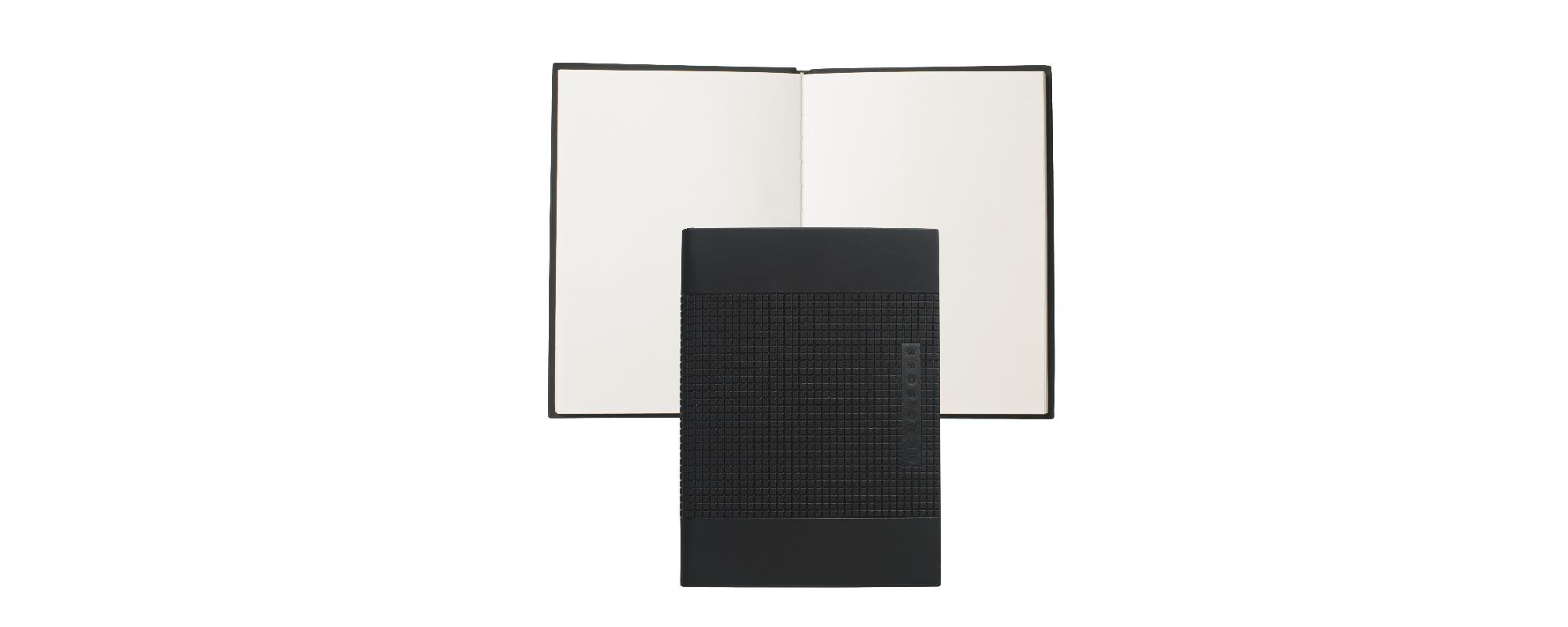 Vegan Leather Bound Small Notepad | Note Pad Grid, Black