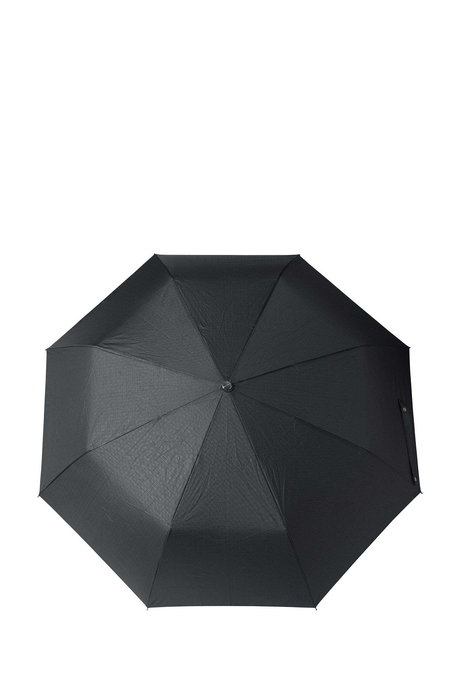 Nylon Printed Automatic Umbrella | Grid Pocket, Black