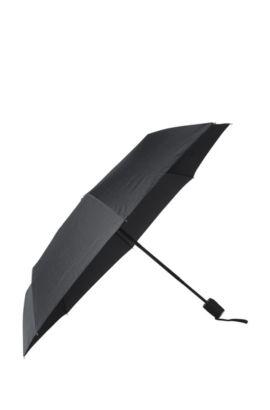 'Grid Pocket' | Nylon Printed Automatic Umbrella, Black