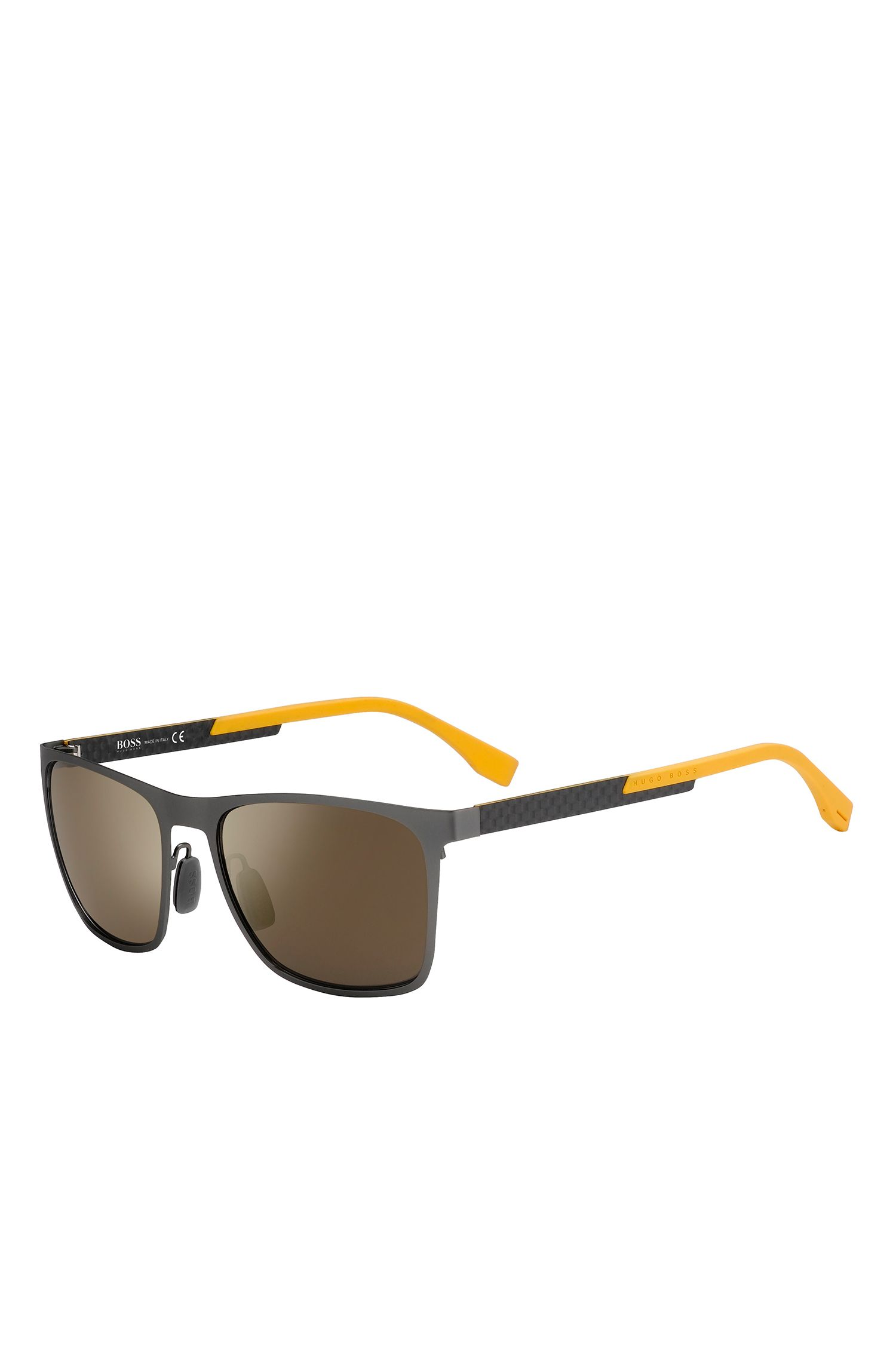 'BOSS 0732S' | Gunmetal Flash Lens Rectangular Sunglasses