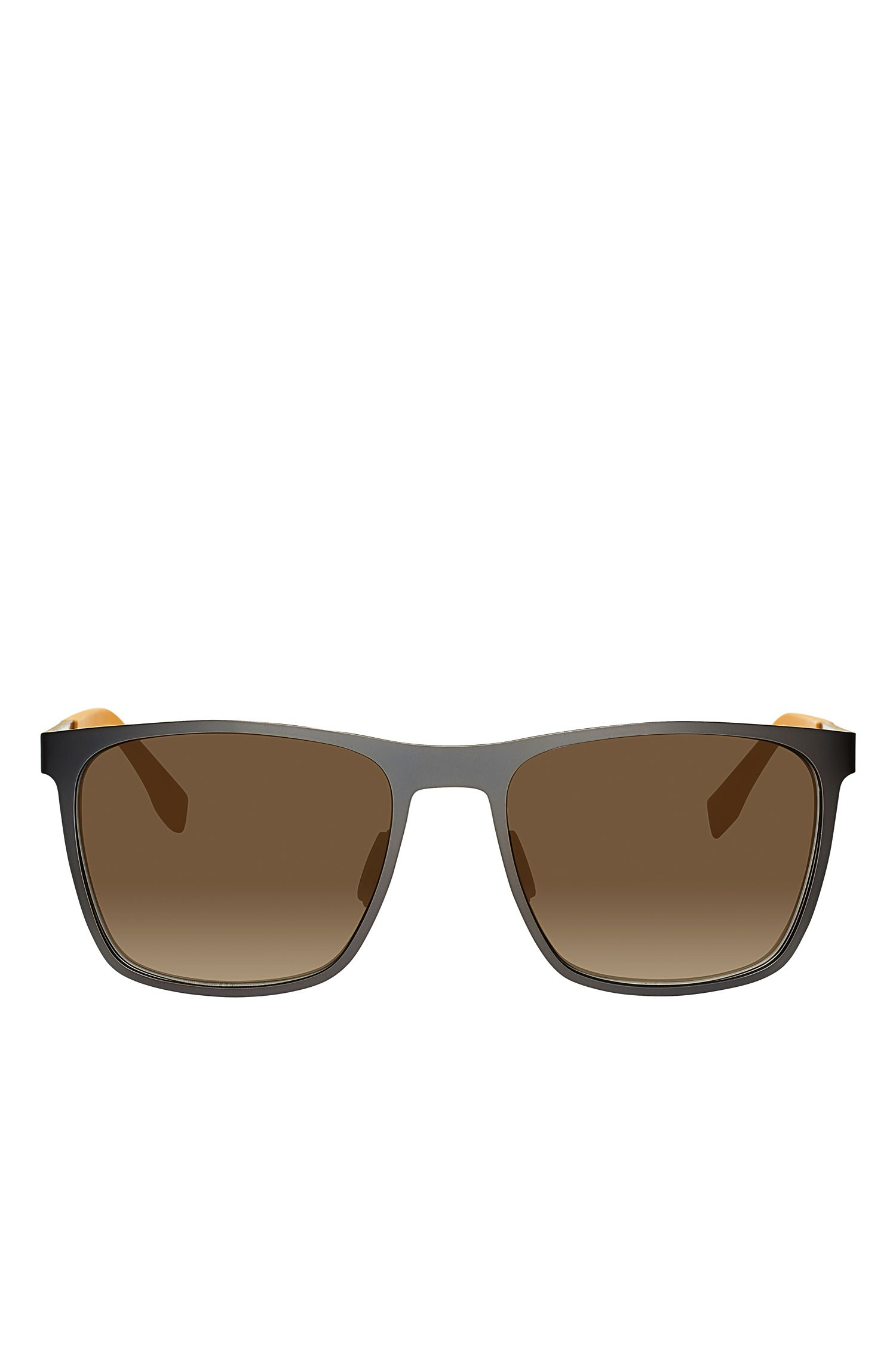 Gunmetal Flash Lens Rectangular Sunglasses | BOSS 0732S