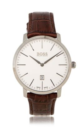 '1513255' | Italian Leather Strap Swiss Quartz Watch, Assorted-Pre-Pack