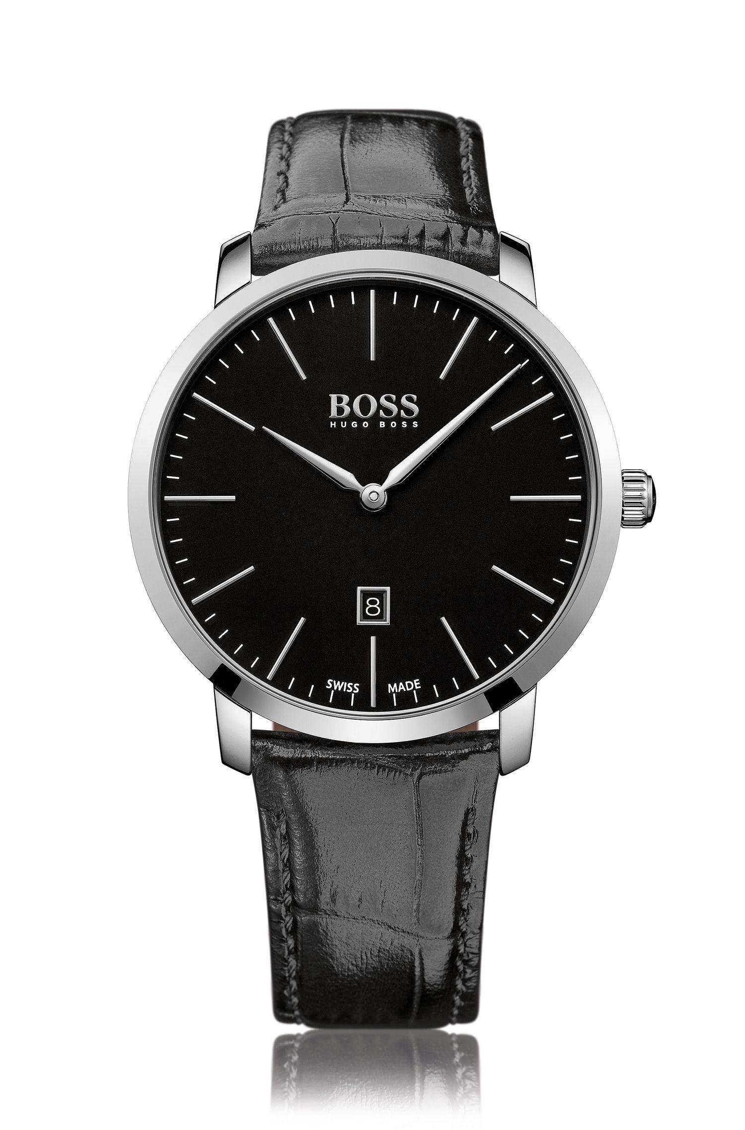 Italian Leather Strap Swiss Quartz Watch | 1513258