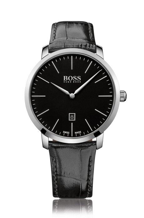 42146908208 BOSS - Italian Leather Strap Swiss Quartz Watch