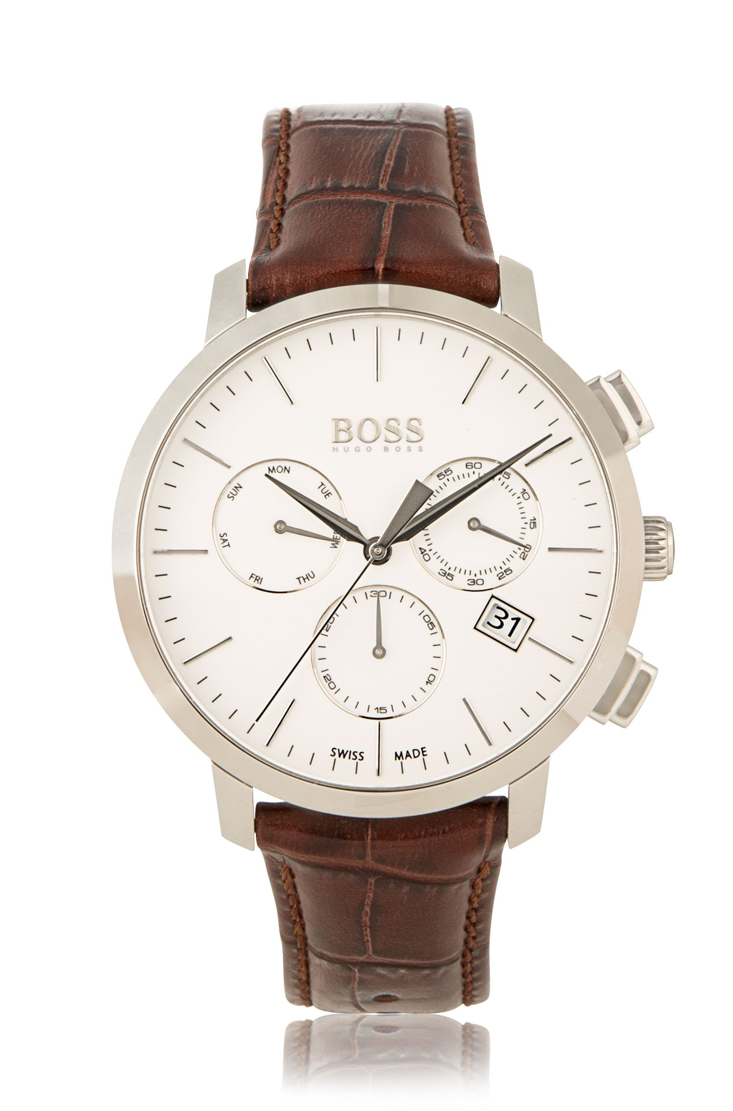 Italian Leather Swiss Quartz Chronograph Watch | 1513263