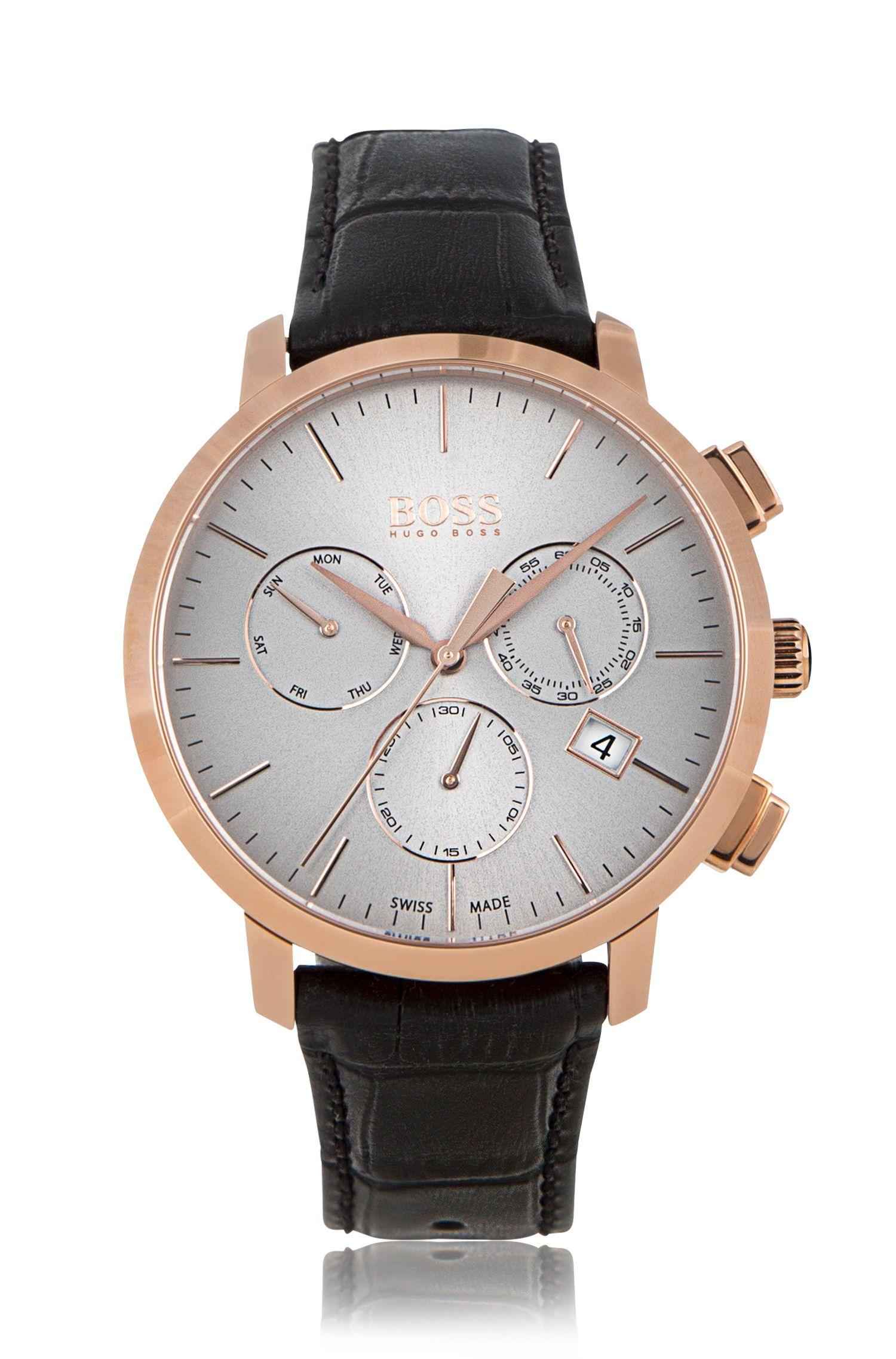 '1513264'   Chronograph Italian Leather Swiss Quartz Watch
